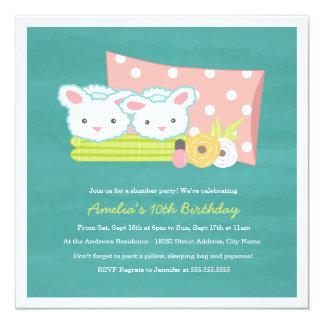 "Fuzzy Slippers Slumber Party Invitation 5.25"" Square Invitation Card"