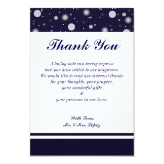 Fuzzy Snow on Navy 3.5 X 5 Thank you Card