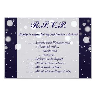 Fuzzy Snow on Navy 5 x 3.5 R.S.V.P. Card
