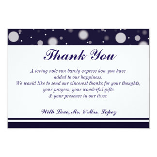 Fuzzy Snow on Navy 5 x 3.5 Thank you Card
