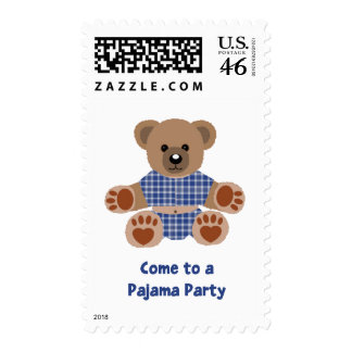 Fuzzy Teddy Bear Blue Plaid Pajamas PJ Party Postage Stamps