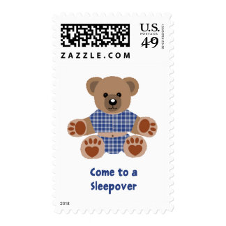 Fuzzy Teddy Bear Blue Plaid Pajamas Sleepover Postage Stamp