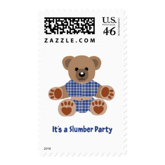Fuzzy Teddy Bear Blue Plaid Pajamas Slumber Party Postage