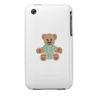 Fuzzy Teddy Bear Green Flowered Pajamas iPhone 3 Case-Mate Case