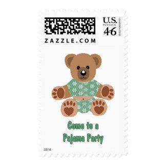 Fuzzy Teddy Bear Green Flowered Pajamas PJ Party Stamp