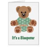 Fuzzy Teddy Bear Green Flowered Pajamas Sleepover Greeting Card
