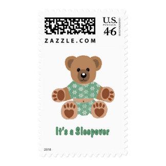 Fuzzy Teddy Bear Green Flowered Pajamas Sleepover Stamps