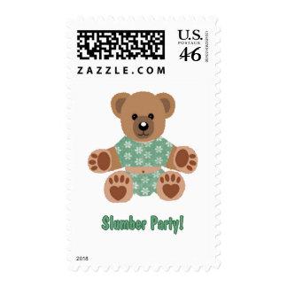 Fuzzy Teddy Bear Green Flowered Pajamas Slumber Stamp