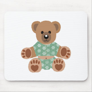 Fuzzy Teddy Bear in Green Flowered Pajamas Mouse Pad