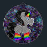 "Fuzzy Unicorn in Space Dart Board<br><div class=""desc"">Exclusive design by EverHigh.</div>"
