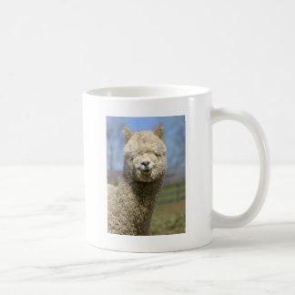 Fuzzy White Alpaca Face Coffee Mug