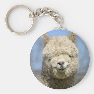 Fuzzy White Alpaca Face Keychain