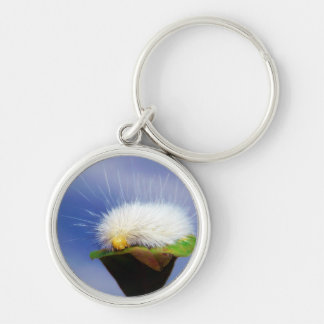 Fuzzy White Caterpillar Silver-Colored Round Keychain