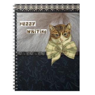 Fuzzy Writing Cat Artwork Spiral Notebook