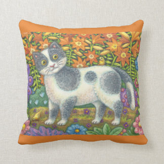 Fuzzy Wuzzy Kitten FOLK ART CAT THROW PILLOW