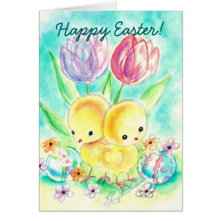 Fuzzy Yellow Chicks with Tulips and Painted Eggs Stationery Note Card