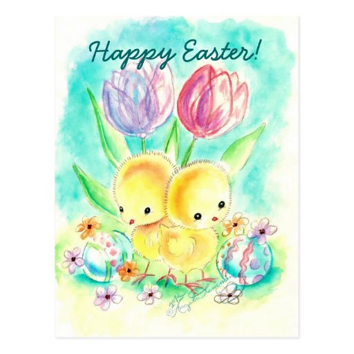 Fuzzy Yellow Chicks with Tulips and Painted Eggs Postcard