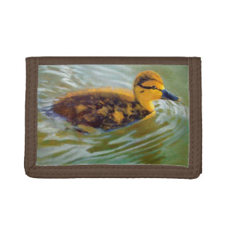 Fuzzy Young Duck Swimming: Original Painting Tri-fold Wallet