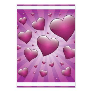FVHWRV  PURPLES RAYS HEARTS LOVE FRIENDSHIP FLIRTI 3.5X5 PAPER INVITATION CARD