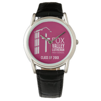 FVLHS Bell Tower on Maroon Background Wristwatch