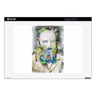 "fyodor dostoevsky - watercolor portrait 15"" laptop skins"