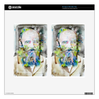 fyodor dostoevsky - watercolor portrait decal for kindle fire