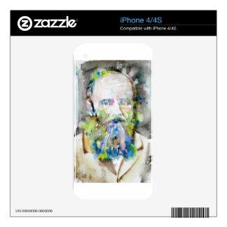 fyodor dostoevsky - watercolor portrait skins for iPhone 4S