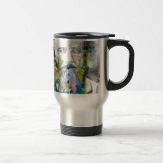 fyodor dostoevsky - watercolor portrait travel mug