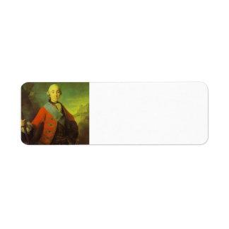 Fyodor Rokotov- Portrait of Great Duke Peter Return Address Label