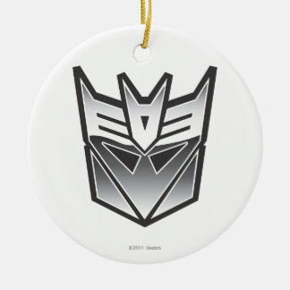 G1 Decepticon Shield BW Double-Sided Ceramic Round Christmas Ornament