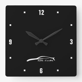 G35 Coupe white brushstroke logo Square Wall Clock