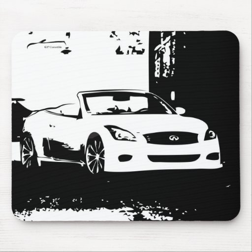 G37 Convertible white brush stroke logo Mouse Pads