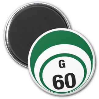 G60 bingo ball fridge magnet