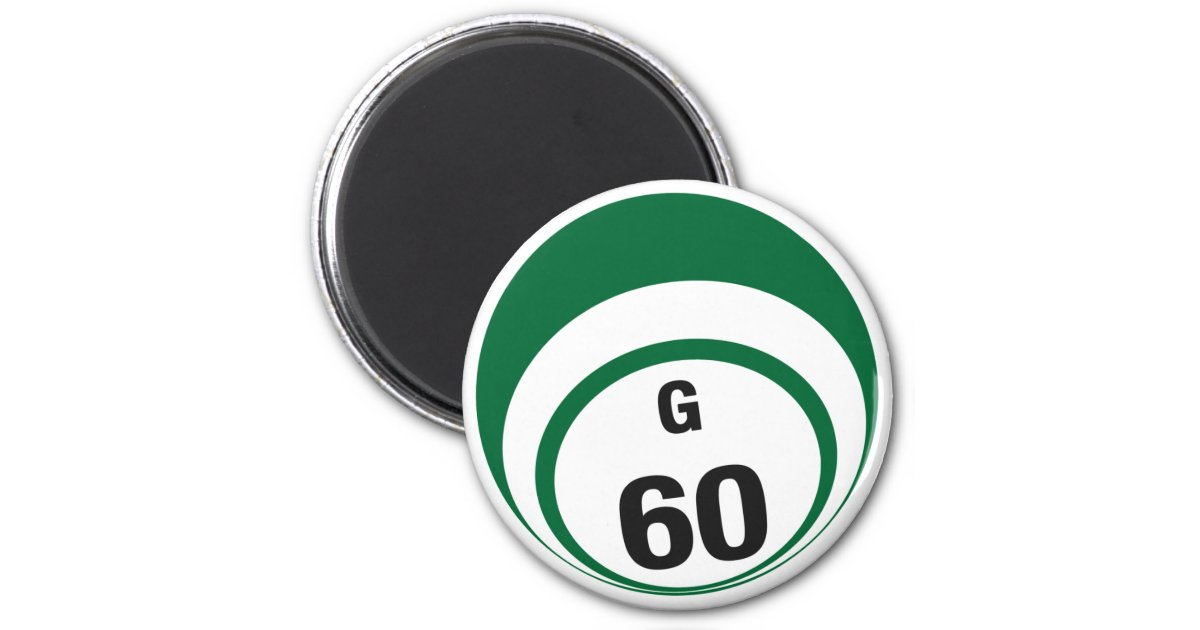 g60 bingo ball fridge magnet