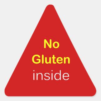 g6 - Food Label ~ NO GLUTEN INSIDE. Triangle Sticker