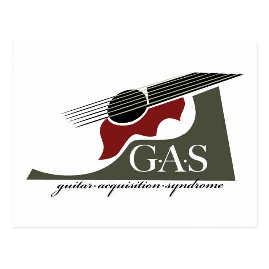G.A.S. Acoustic Guitar Red Postcard