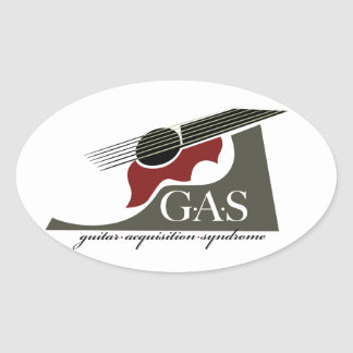 G.A.S. Acoustic Guitar Red Oval Sticker