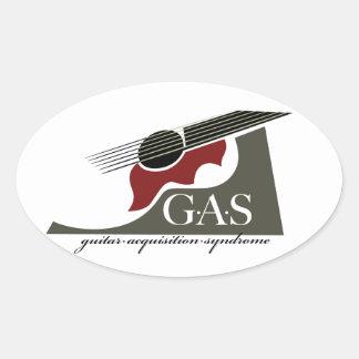 G.A.S. Rojo de la guitarra acústica Calcomania Óval