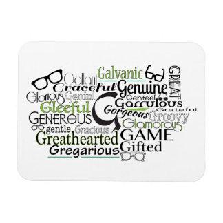 """G"" Awesome Adjectives Rectangular Photo Magnet"