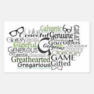 """G"" Awesome Adjectives Rectangular Sticker"