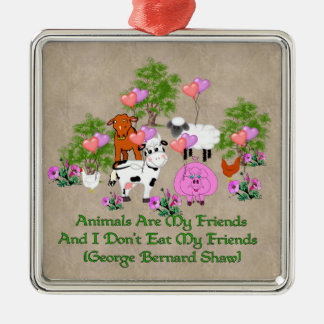 G. B. Shaw Vegetarian Quote Metal Ornament