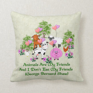 G.B. Shaw Vegetarian Quote Throw Pillow