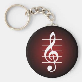 G clef 2 basic round button keychain