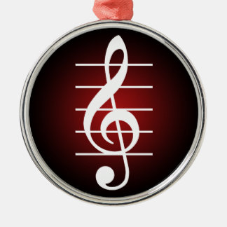 G clef 2 round metal christmas ornament