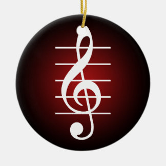 G clef 2 Double-Sided ceramic round christmas ornament