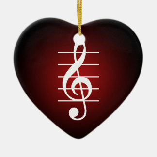 G clef 2 Double-Sided heart ceramic christmas ornament
