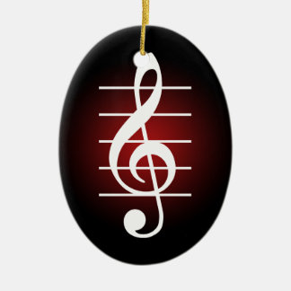 G clef 2 Double-Sided oval ceramic christmas ornament
