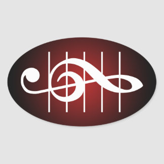 G clef 2 oval sticker
