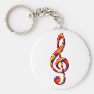 G Clef Basic Round Button Keychain