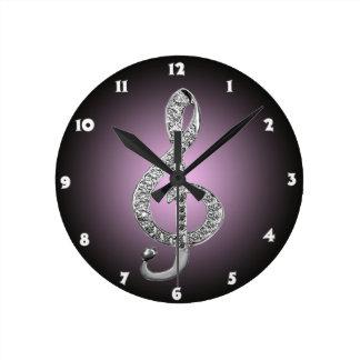 G-clef de los símbolos de música reloj redondo mediano